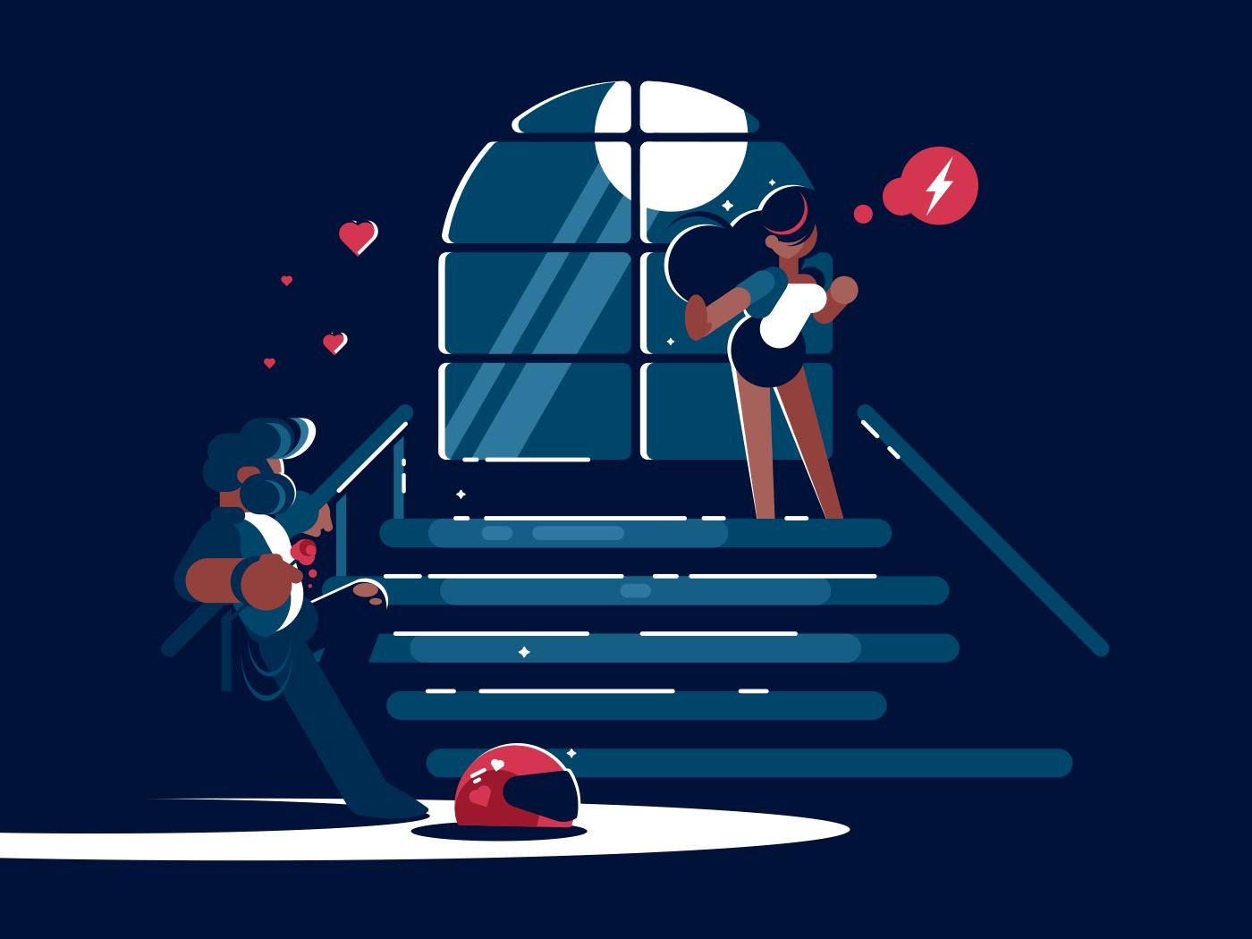 Loving boyfriend and girl in evening in moonlight. Vector illustration