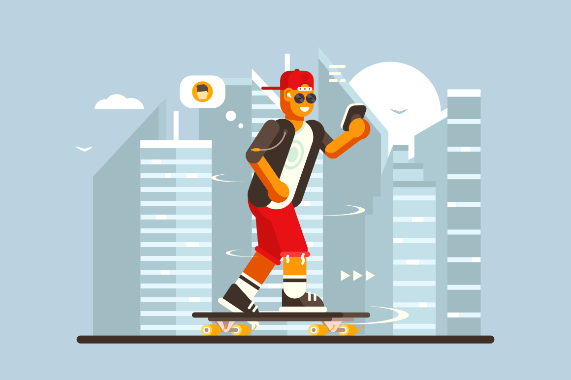 Cartoon guy riding on skateboard outdoor vector illustration. Boy in sunglasses and casual clothes on skate speaking with friend via mobile app flat style concept. Cityscape background
