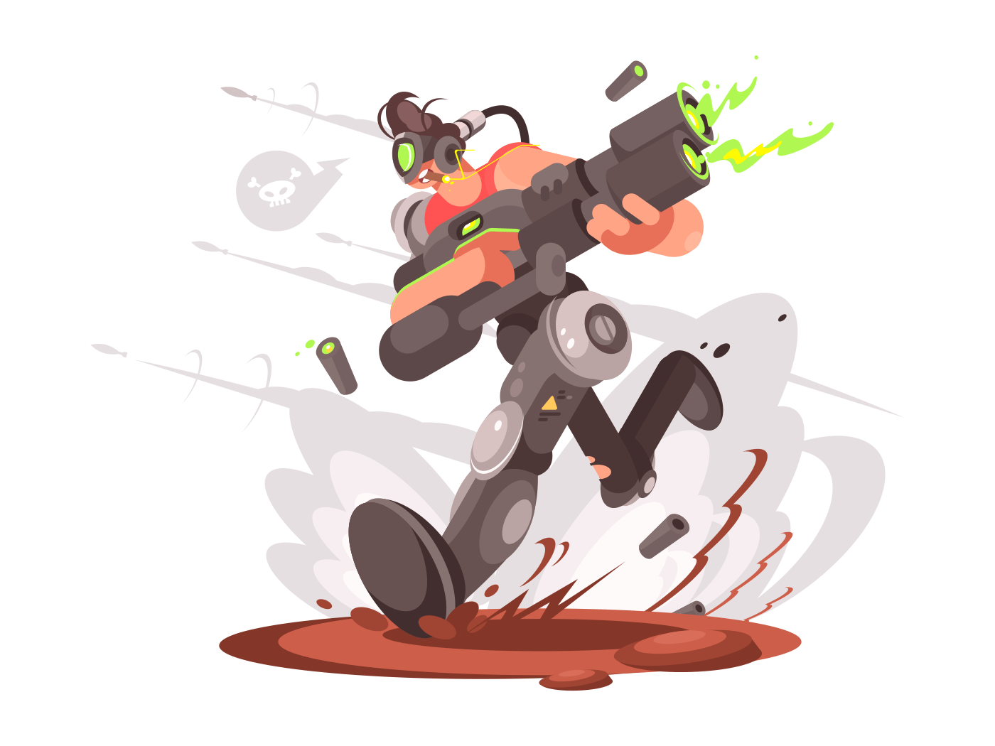 Soldier of the future runs with blaster in virtual world. Vector illustration