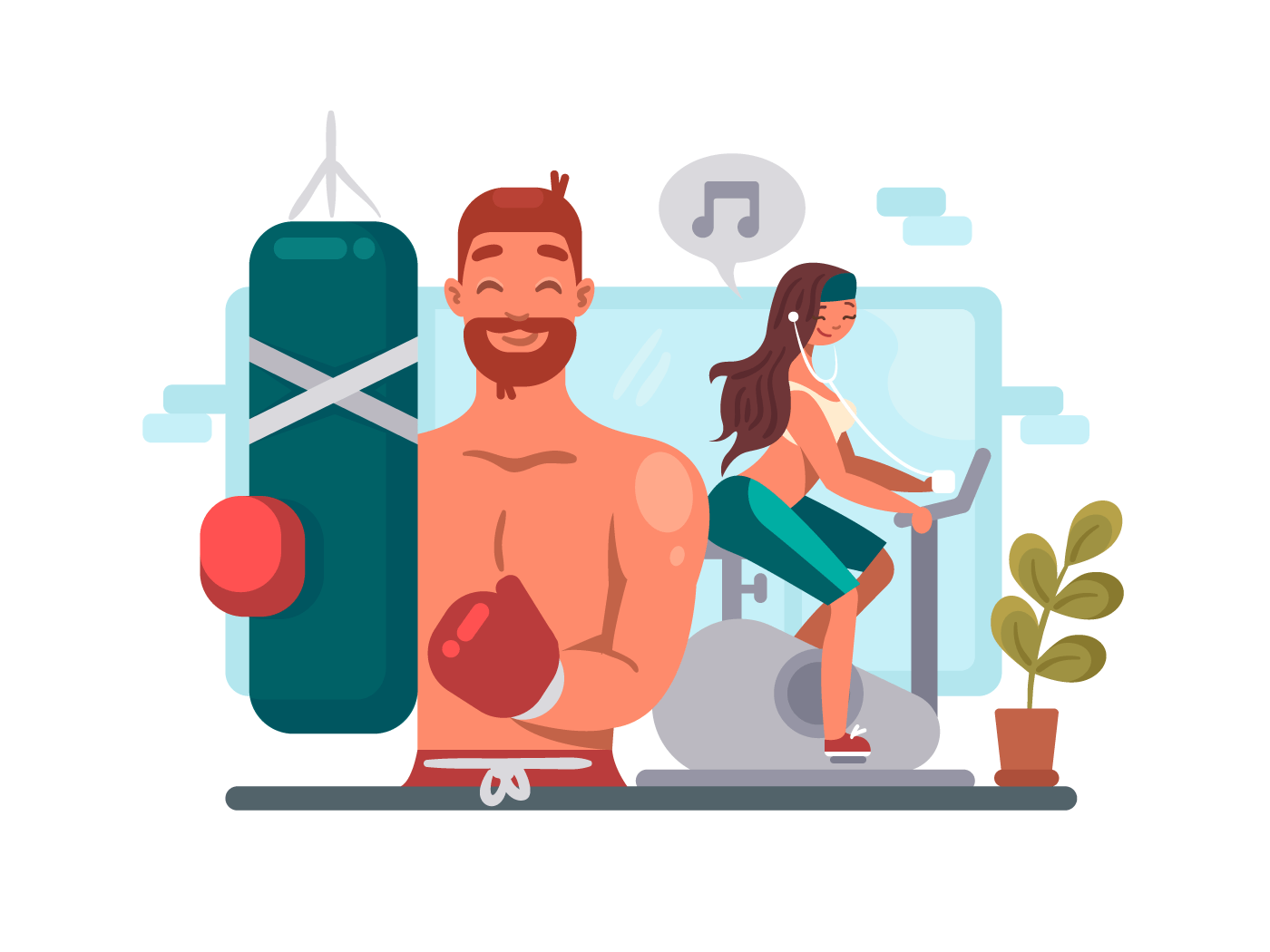 Man and woman training in gym illustration