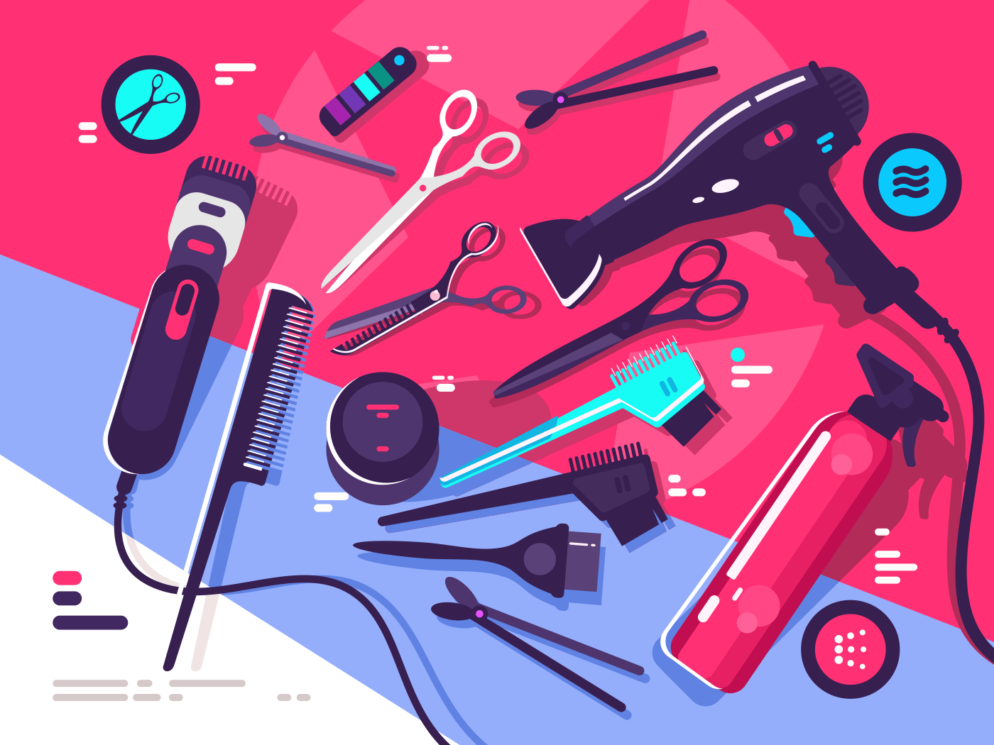 Hairdressing tools, hairbrush and hair dryer, scissors and shaving machine. Vector illustration