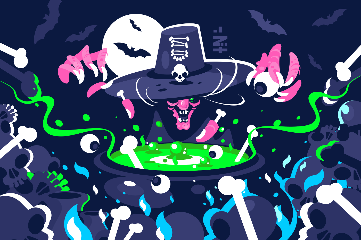 Halloween witch preparing magic potion in cauldron. Ugly old hag cooking green poison. Holiday celebration concept. Horizontal flat style. Vector illustration