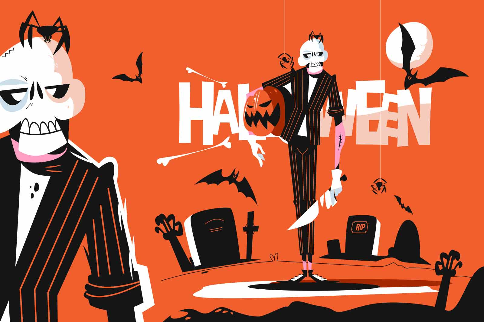 Skeleton dressed in costume vector illustration. Horror character with pumpkin. Dark scary cemetery place flat style. Bat and spider. Happy halloween concept. Isolated on orange background