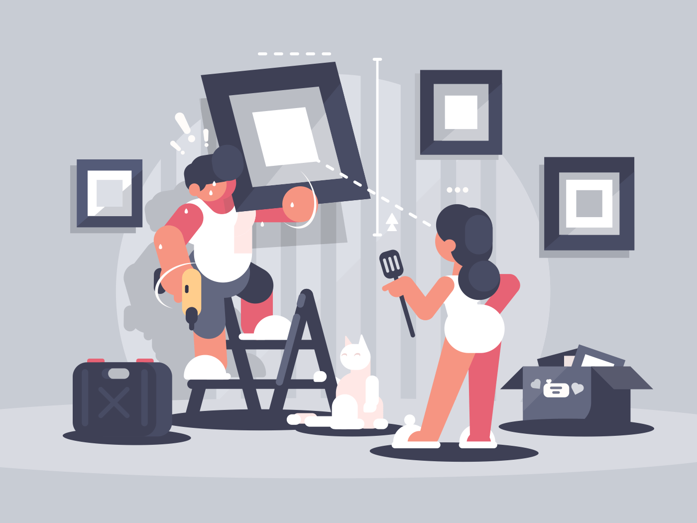 Guy hangs picture on wall. Wife guides husbands work. Vector illustration