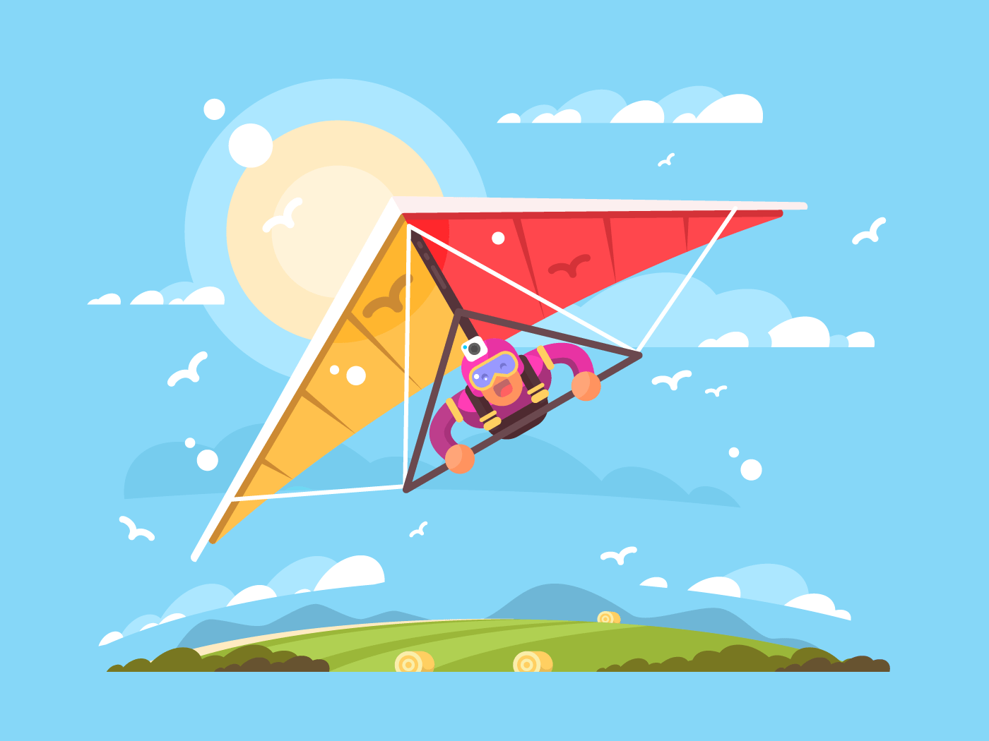 Man on a hang glider flat vector illustration