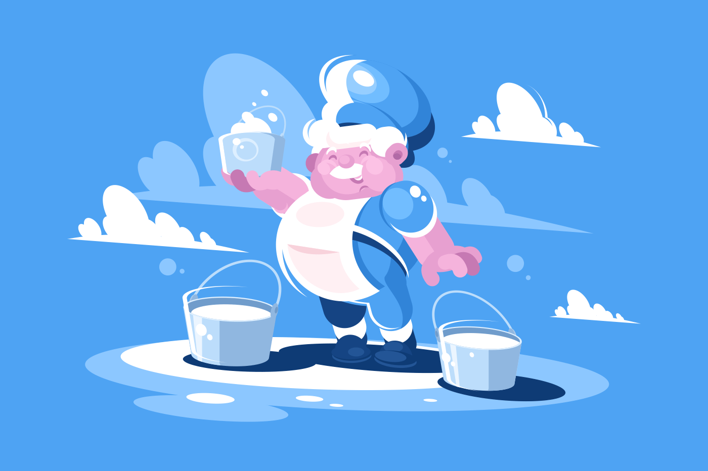 Cheerful milkman with bucket of cream and milk. Fresh dairy product. Vector illustration