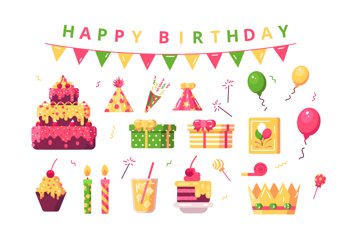 Happy birthday symbols set vector illustration. Composition consists of letters inscription with flags holiday cake present boxes balloons streamer and festive cap flat design. Date of birth concept