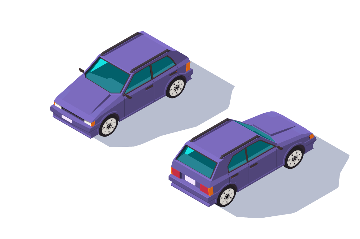 Isometric 3d four-seater red classic hatchback car for family.