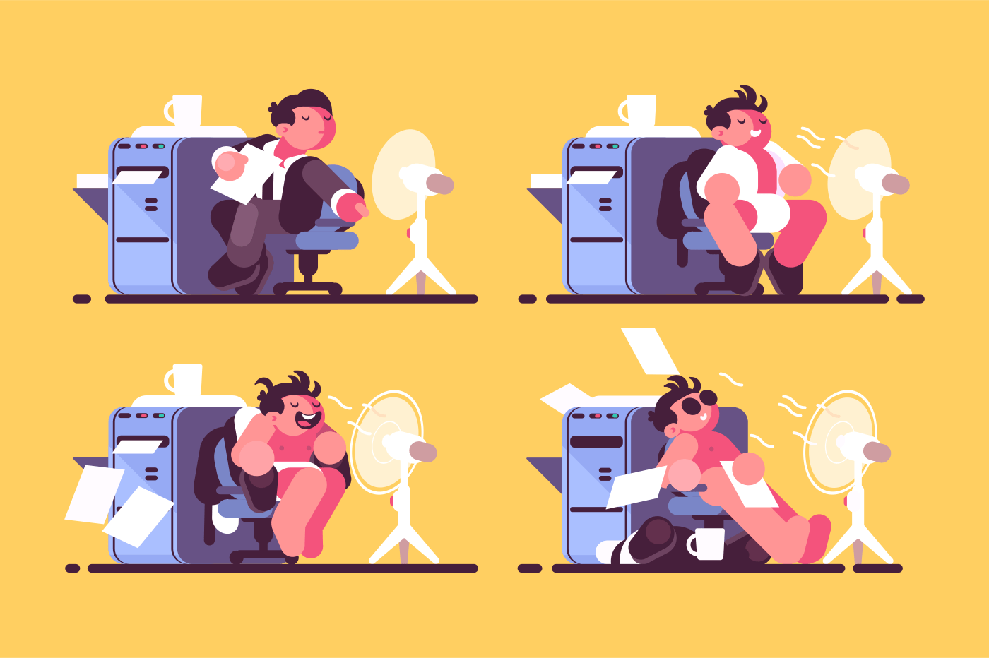 Man in office cooled by fan. Worker enjoys cool air. Vector illustration