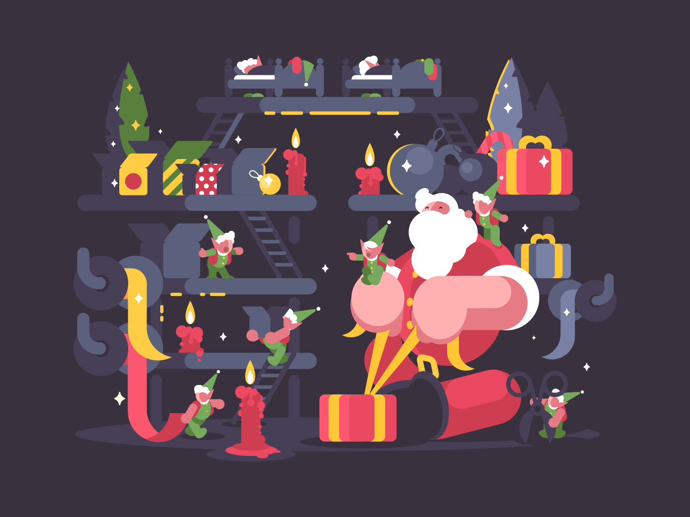 Santa Claus and elves pack gifts for Christmas. Vector illustration