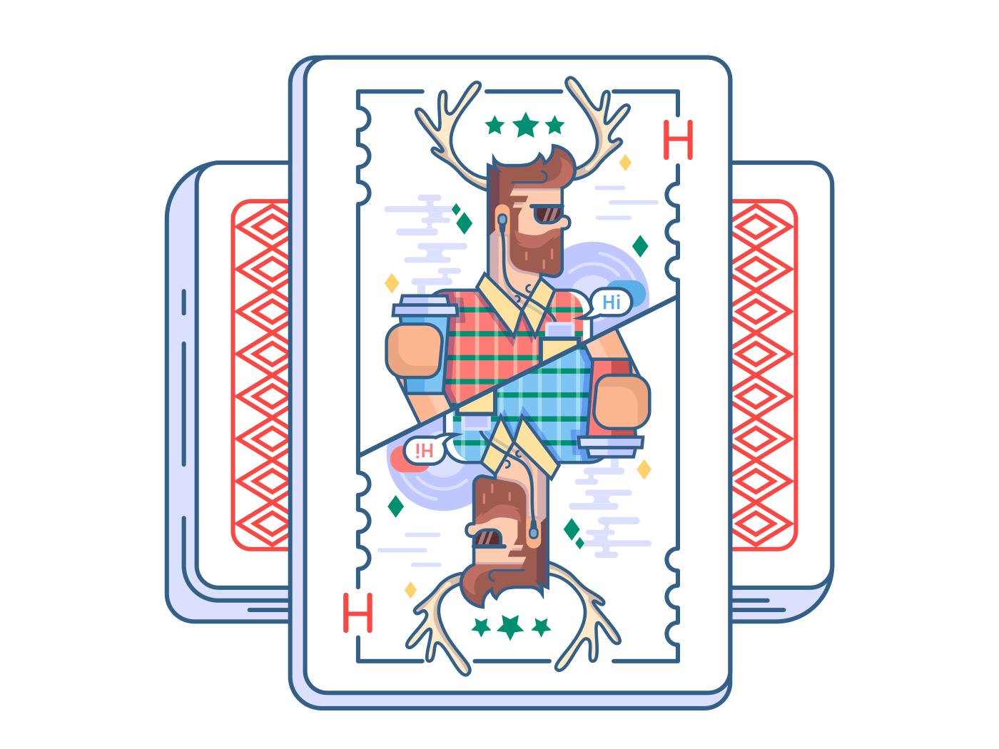 Hipster on playing card vector illustration