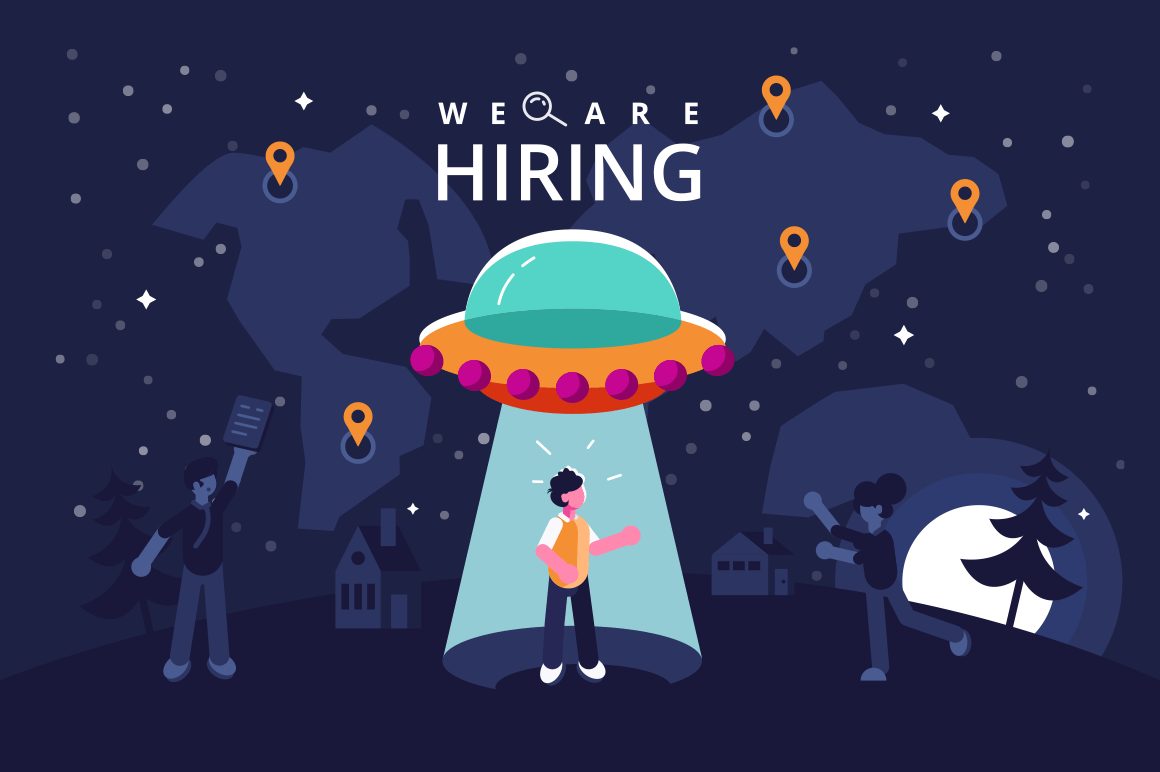 We are hiring vector illustration. Business team searching new co-worker. Flying saucer shining to man flat style design. Employee hunting concept. World map with location pin on background