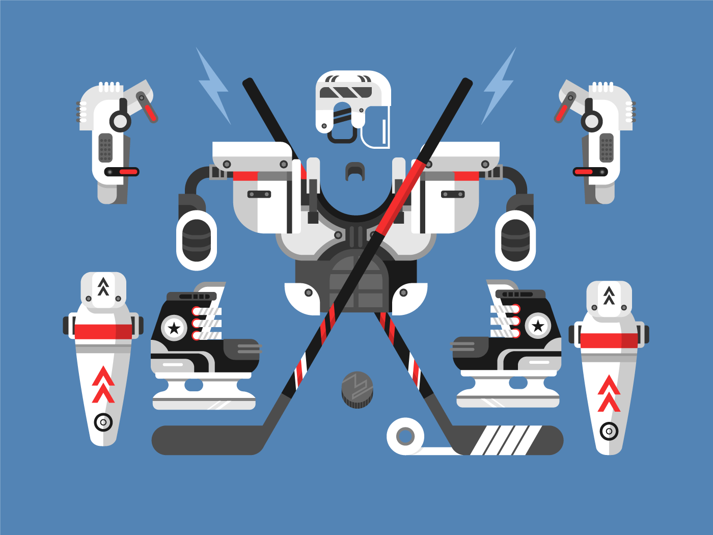 Hockey equipment set flat vector illustration