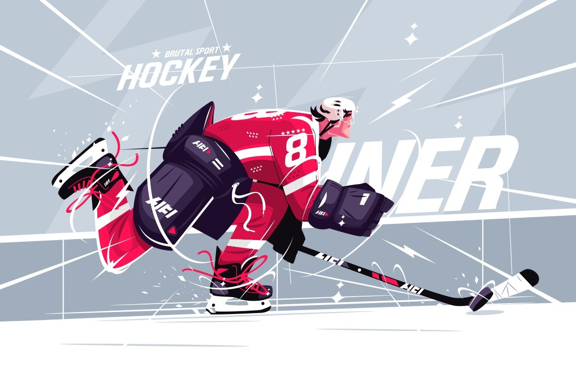 Hockey player on ice field vector illustration. Man in special outfit stickhandling puck to opponents goal. Puck-carrier breaking to slot flat style design. Brutal sport concept