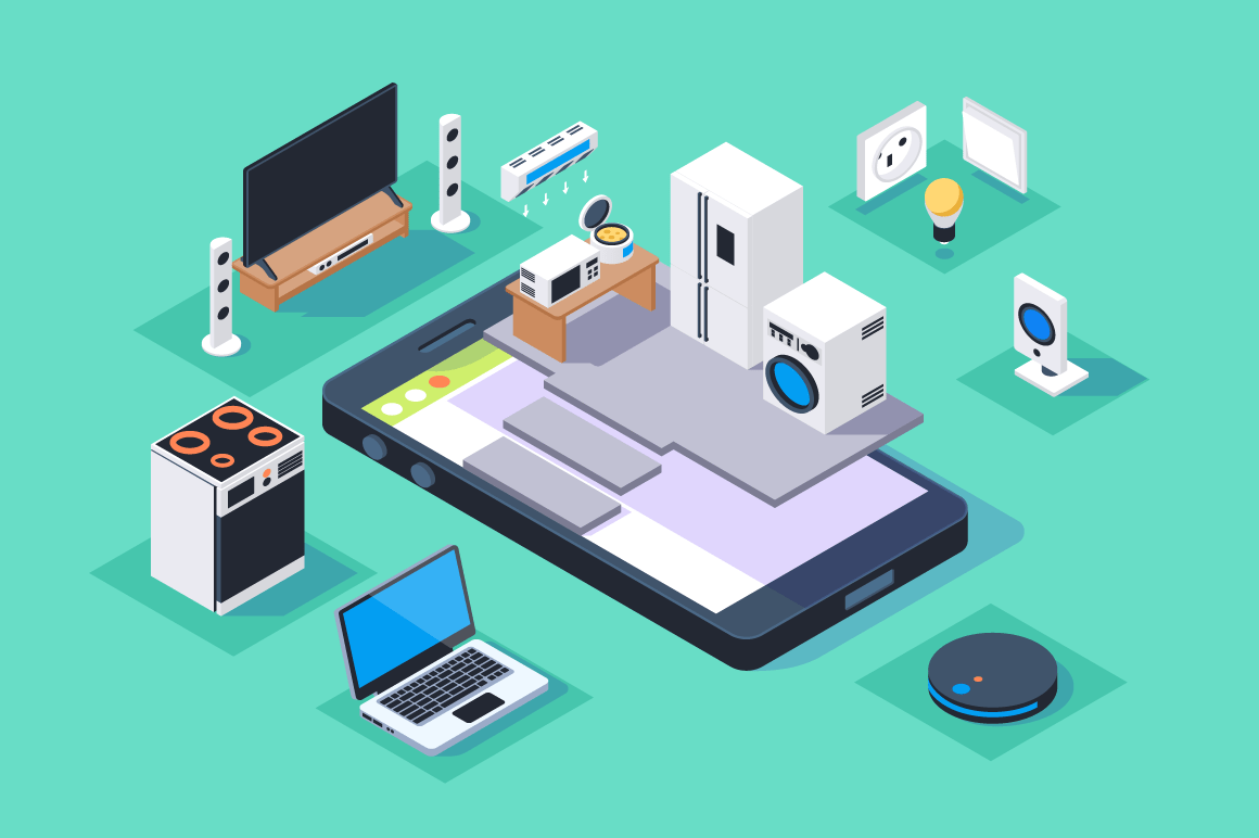 3d isometric smart appliances home on mobile phone.