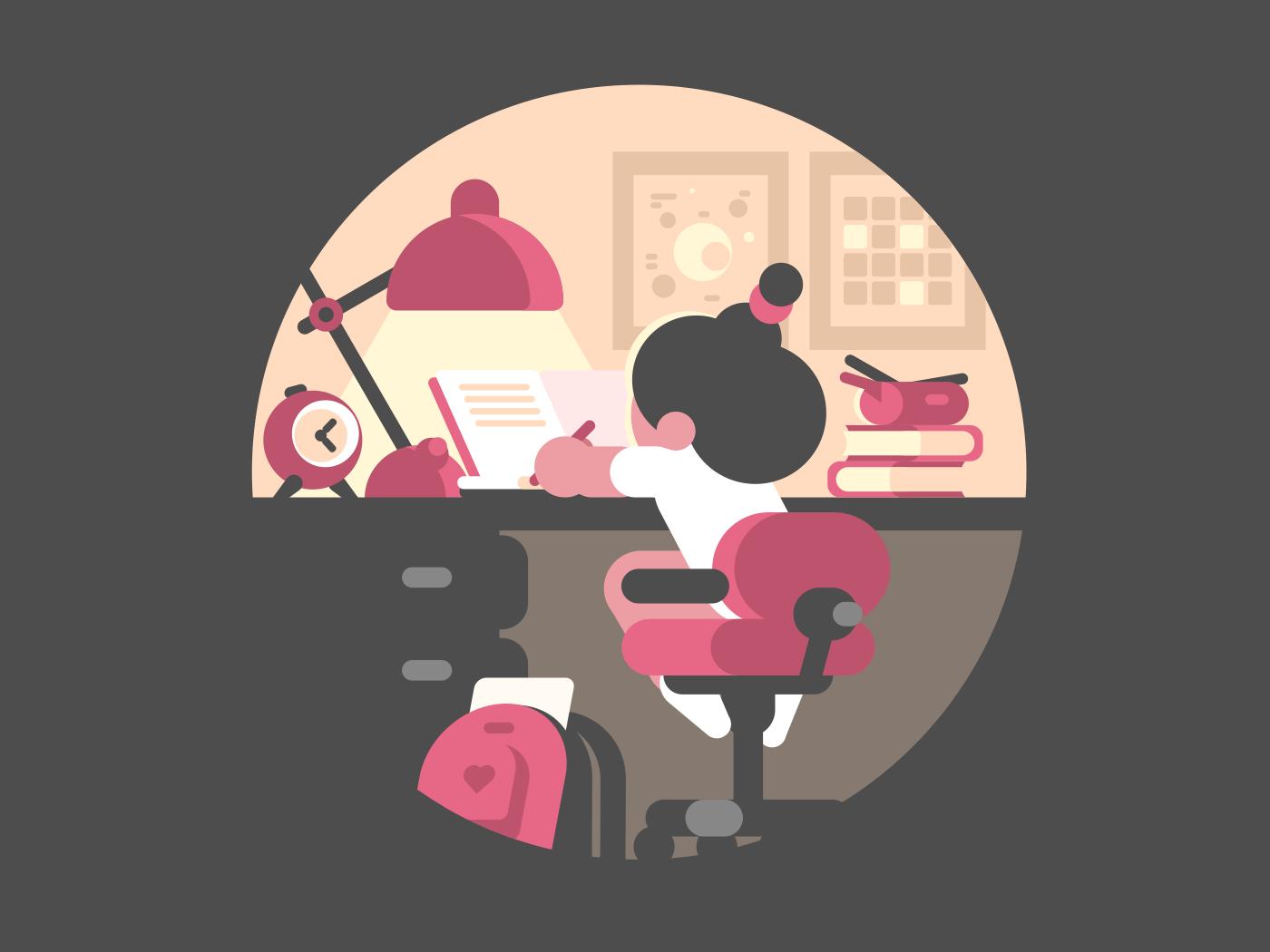 Little girl schoolgirl doing homework. Children workplace for study. Vector illustration