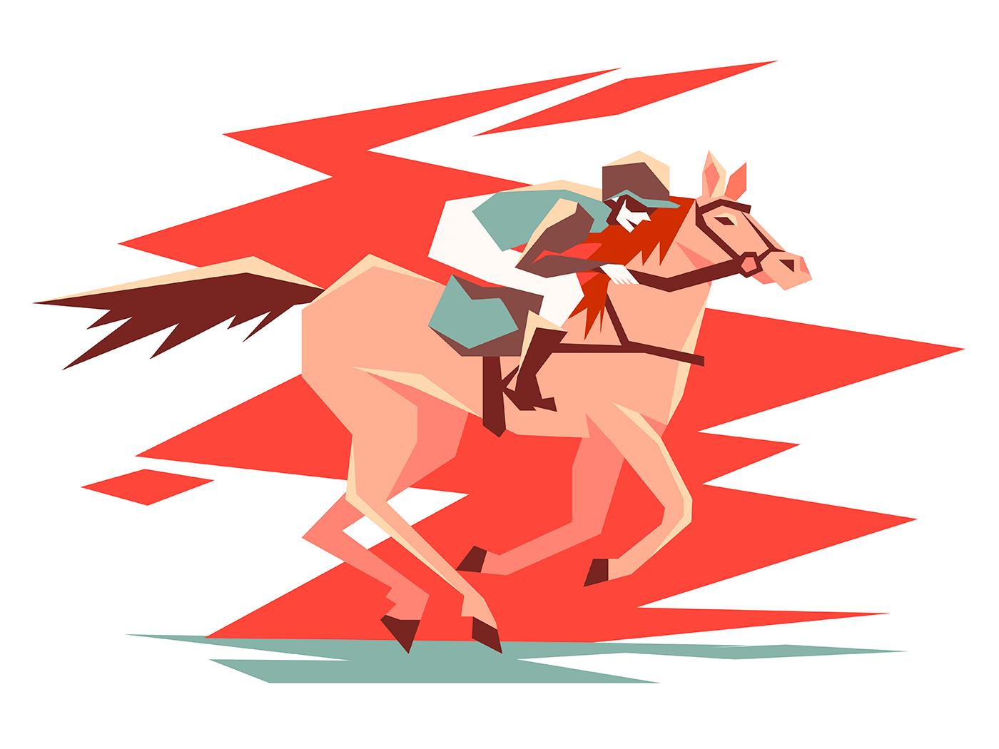 Equestrian horse racing illustration