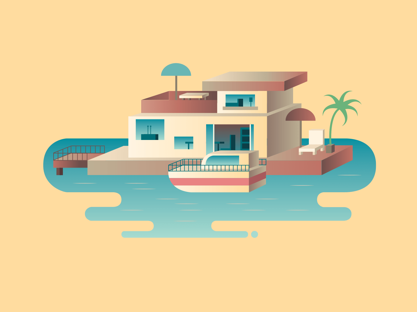 House on water with yacht illustration