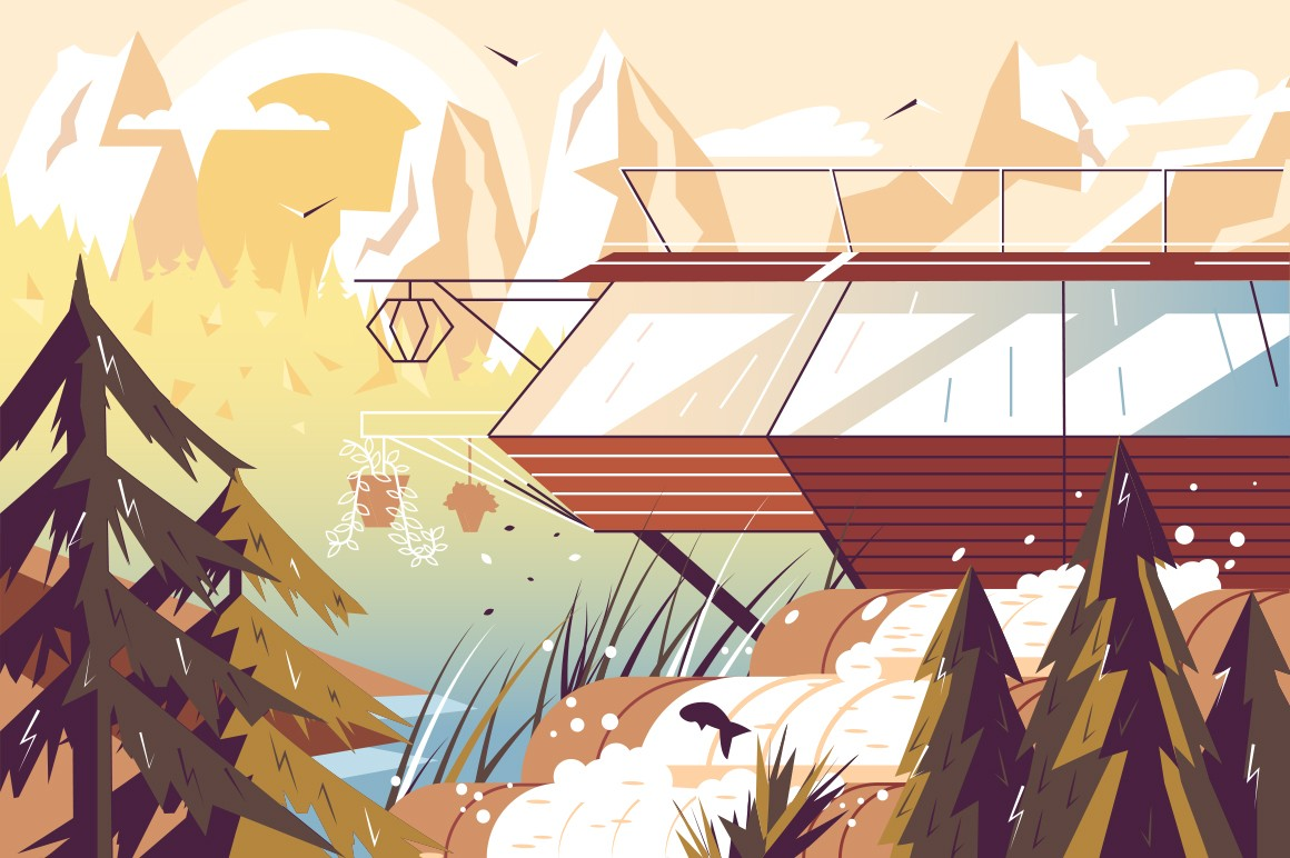Modern house at lake vector illustration. Building in picturesque place with beautiful mountains, pinewood and loch flat style concept. Nature scenic background