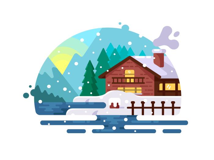 Wooden house on lake shore illustration
