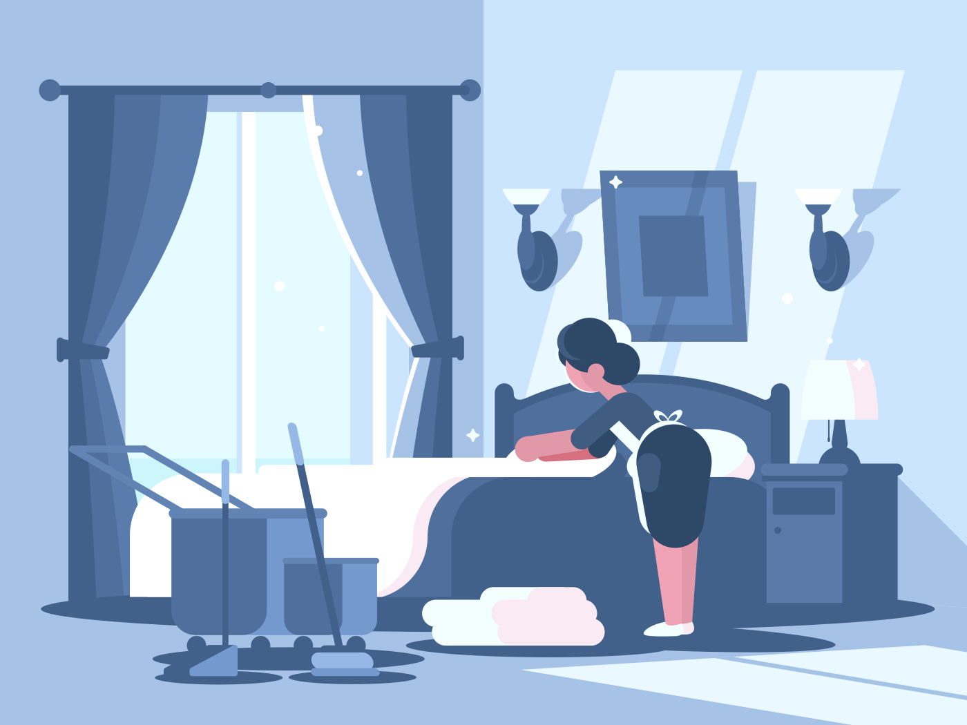Maid cleaning in hotel room. Service staff character woman. Vector illustration
