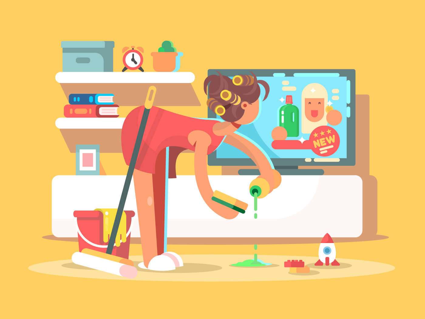 Housewife cleans house flat vector illustration