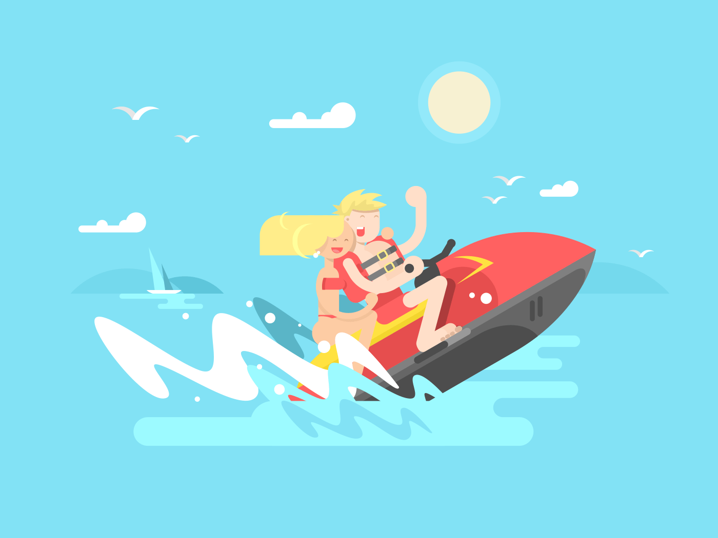 Couple on hydrocycle flat vector illustration