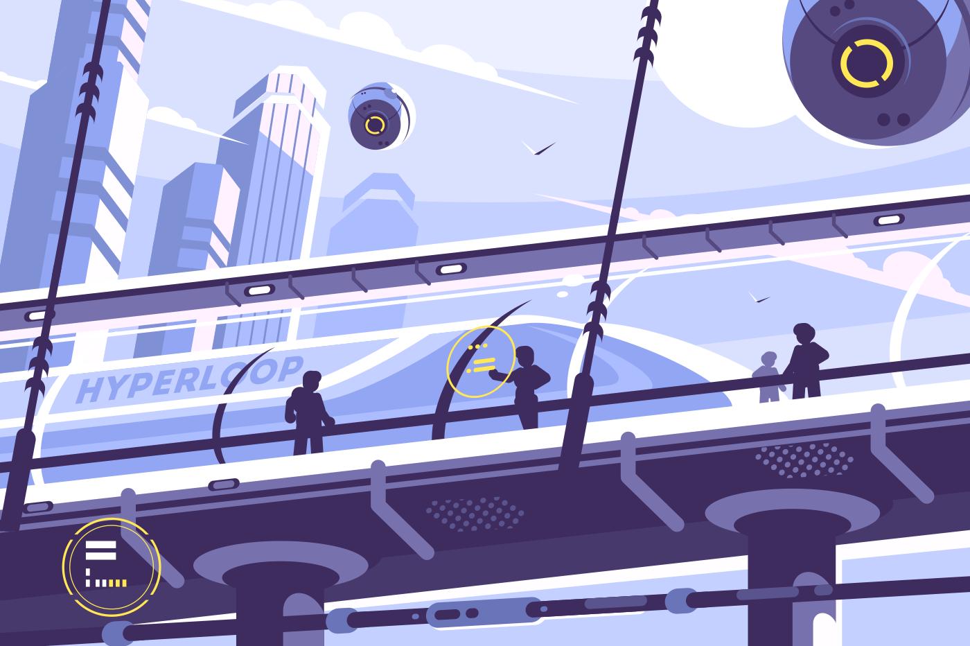 Hyperloop future public transport. Suspended tunnel for train. Vector illustration