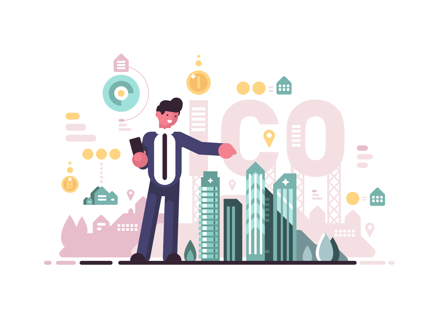 Initial coin offering. Crypto-currency business, modern businessman. Vector flat illustration