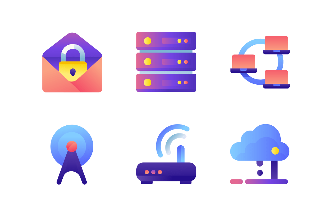 Set icons with database, wi-fi modem, web, mail, network, laptop.