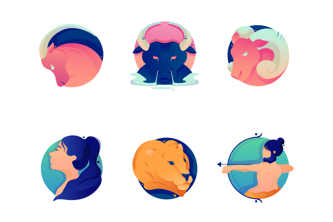 Flat set cartoon zodiac icons with bull, lion, virgo, ram, aries, taurus.