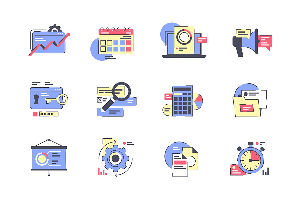 Flat business icon set with calendar, presentation, financial.