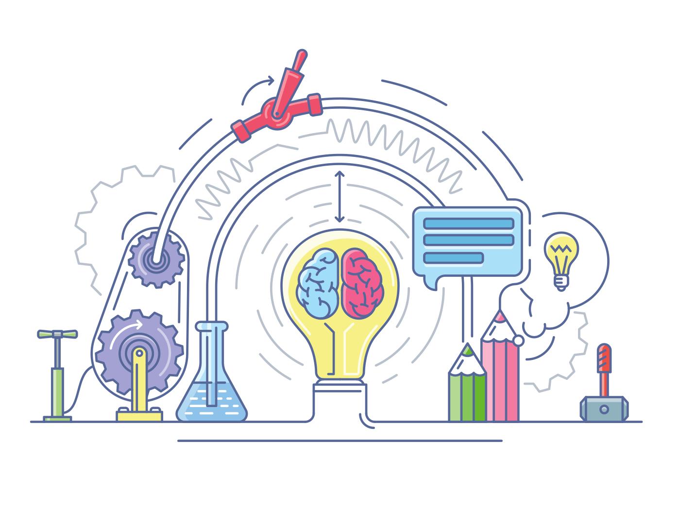 Ideas laboratory line vector illustration