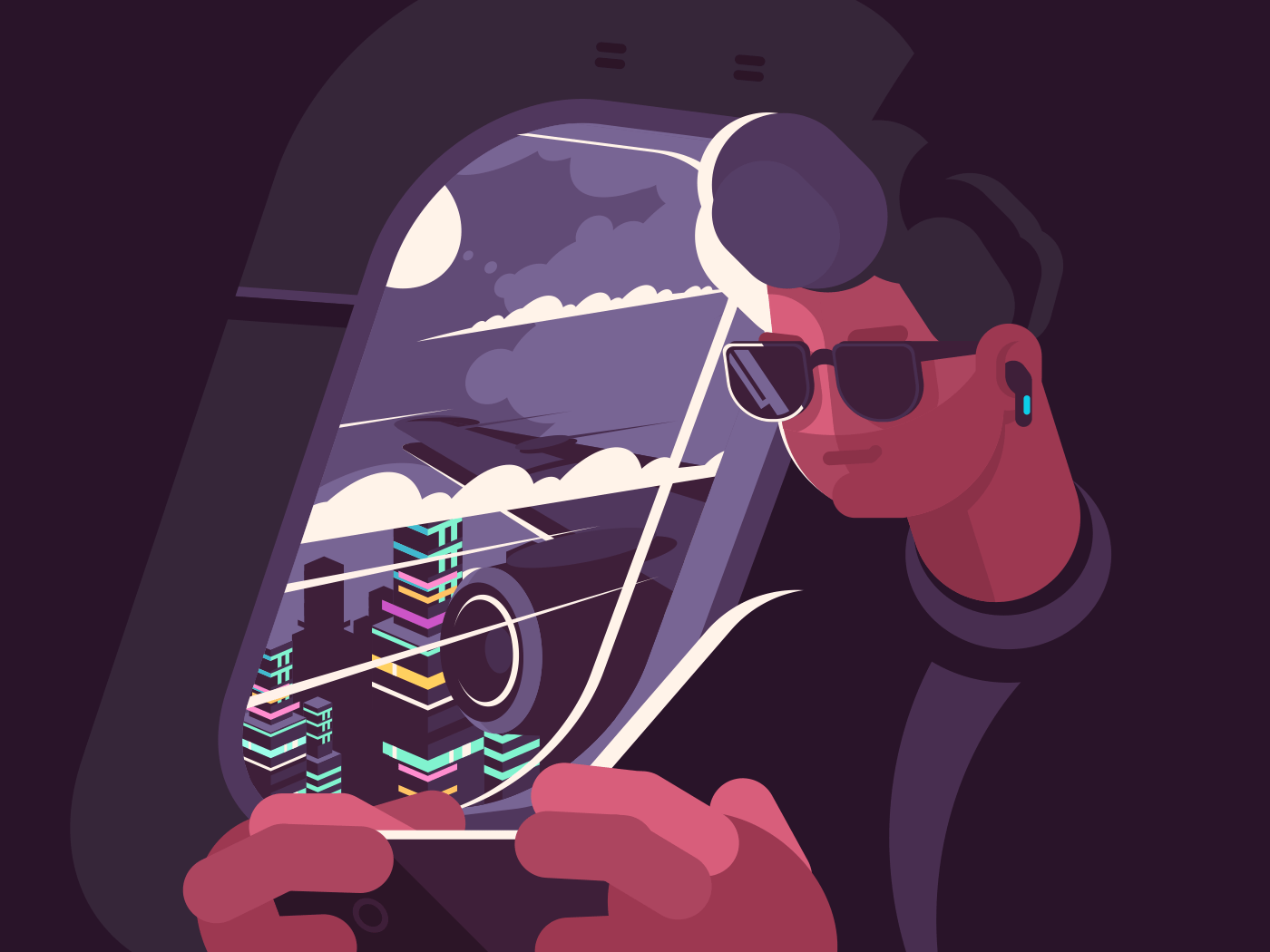 Man in plane near porthole. Passenger plane flies over city. Vector illustration