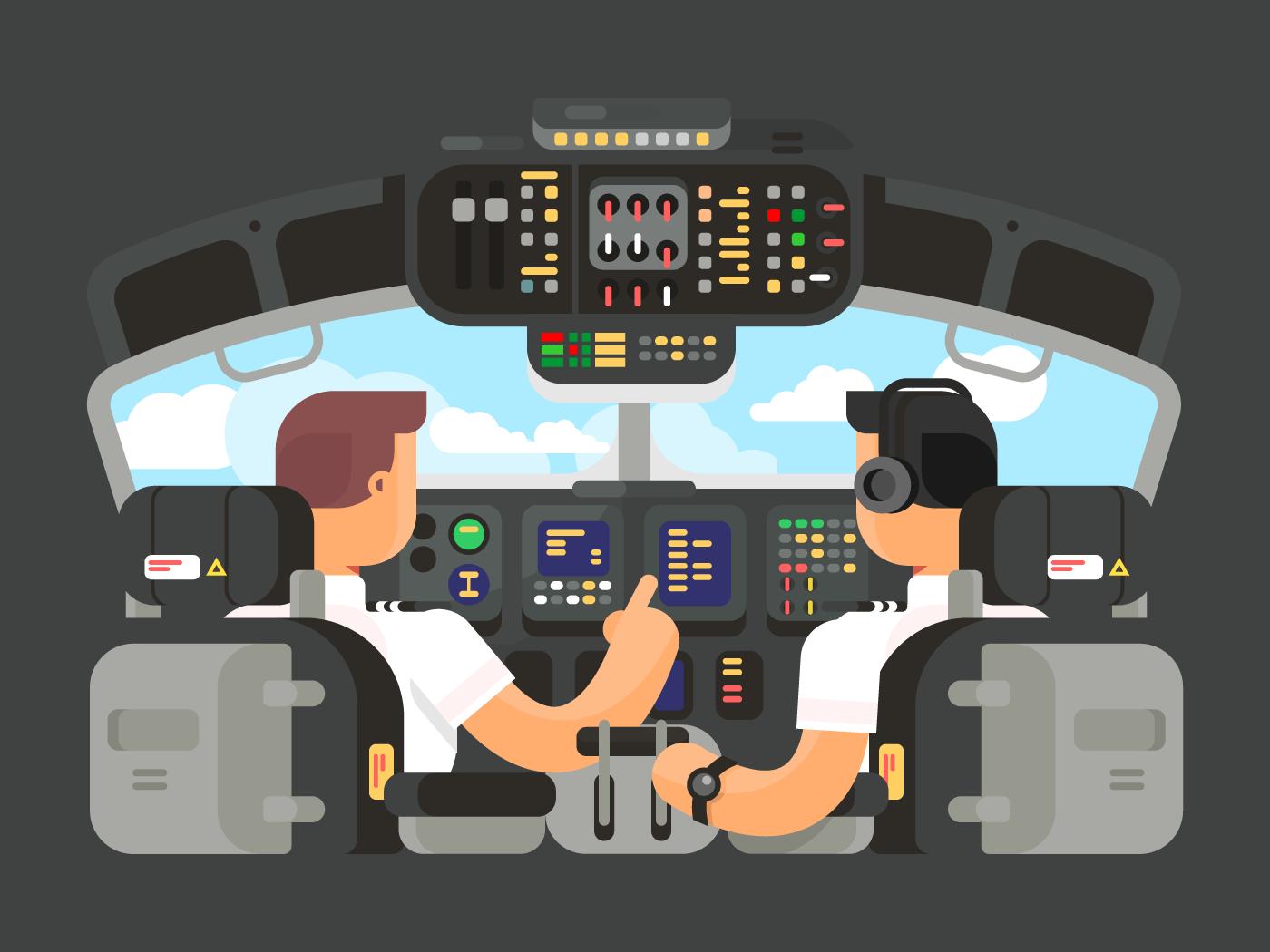 Pilots in cockpit flat vector illustration