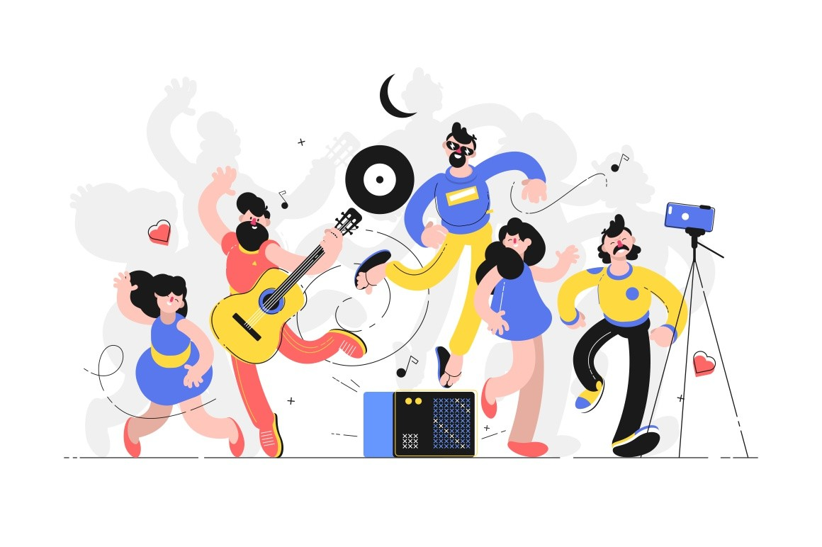 People fun to dance together vector illustration. Men and women playing guitar and dancing. Friends enjoying funny song flat style design. Party and unbridled joy concept
