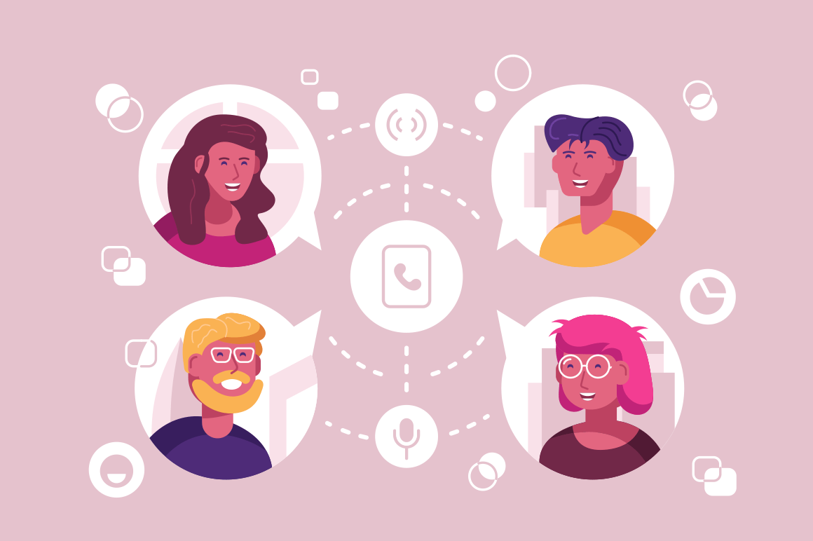 People in touch vector illustration. Men and women communicating with each other via modern means of connecting such as phone call and video link flat style concept