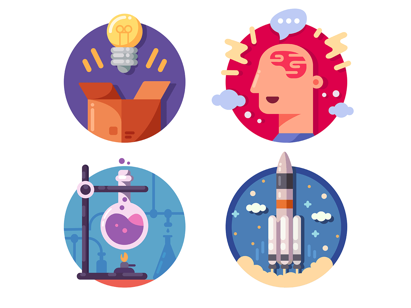 Innovative ideas invention and discovery icons