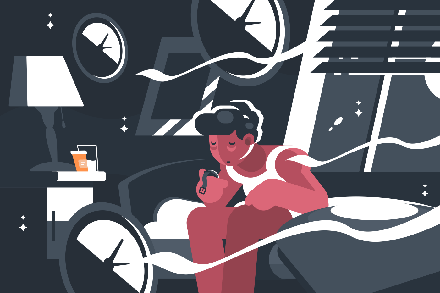 Man suffers from insomnia. Guy sits at night on bed. Vector illustration