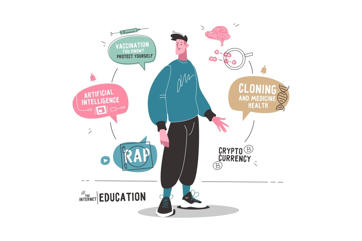 Internet education technology vector illustration. Guy with informational speech bubbles of rap, artificial intelligence, vaccination, cloning, medicine health, crypto currency. Modern internet tech