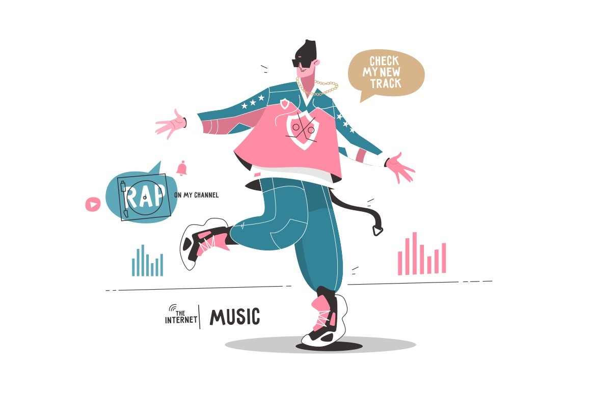 Rap artist promotes his new music album via internet app vector illustration. Guy blogger dancing and enjoying new songs. Speech bubbles rap on my channel, check my new track flat style design. Modern technology