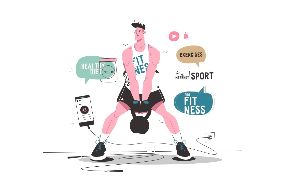 Online internet sport vector illustration. Sports blog tips for getting started. Guy in sportswear pumping muscles with weight flat style design. Speech bubbles of healthy diet, fitness, exercises