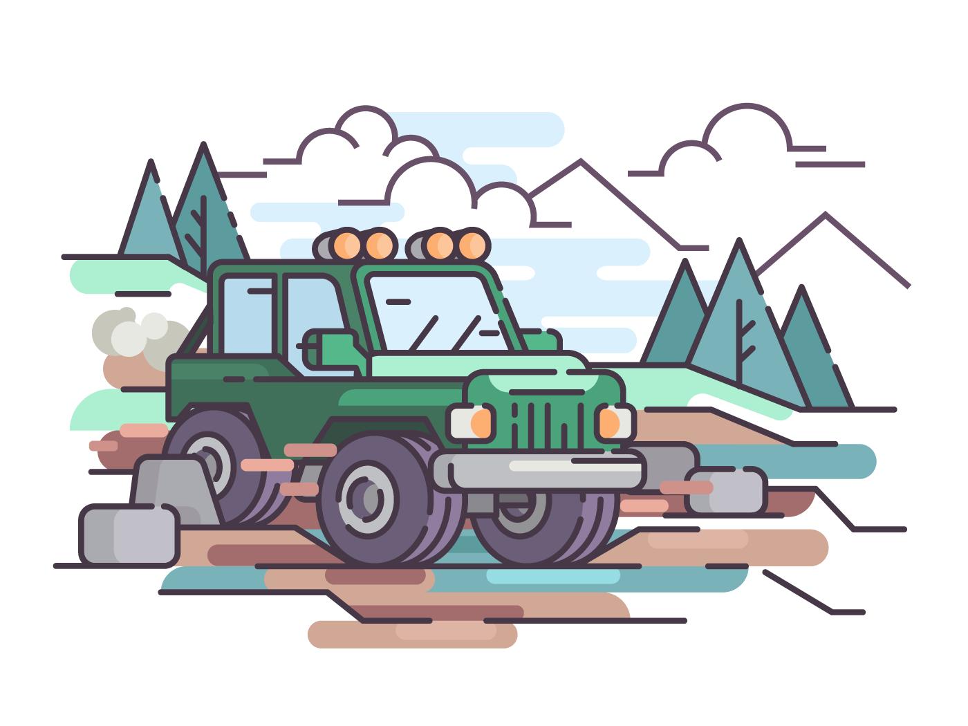 Journey on car off-road vehicle on impassability. Vector flat illustration