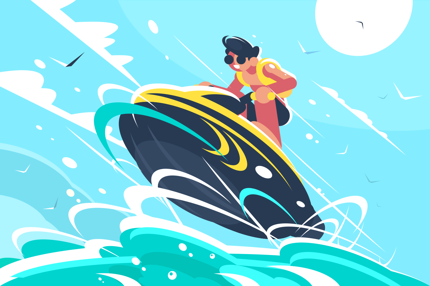 Guy riding water scooter in sea. Active sport and amusement. Vector illustration