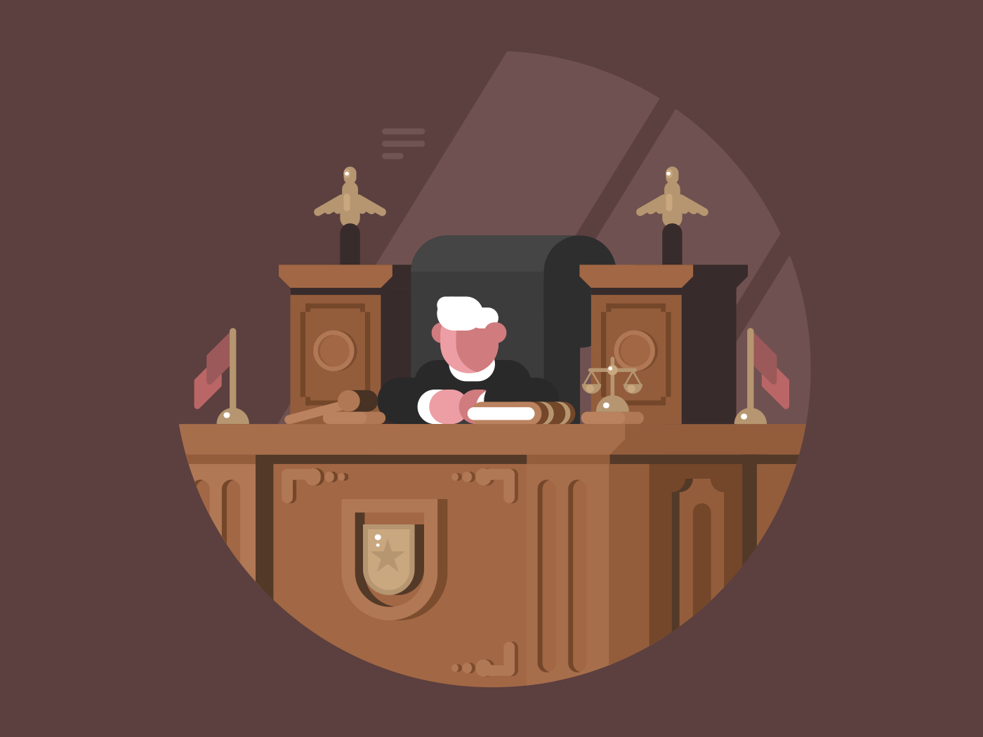 Wise judge in chair at workplace. Justice and Jurisprudence. Vector illustration