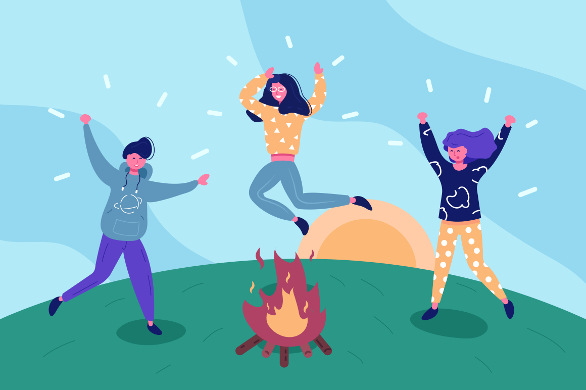 Happy friends having fun outdoors vector illustration. Boy and girls camping and jumping around fire flat style concept. Holiday concept. Sunrise on green hill background