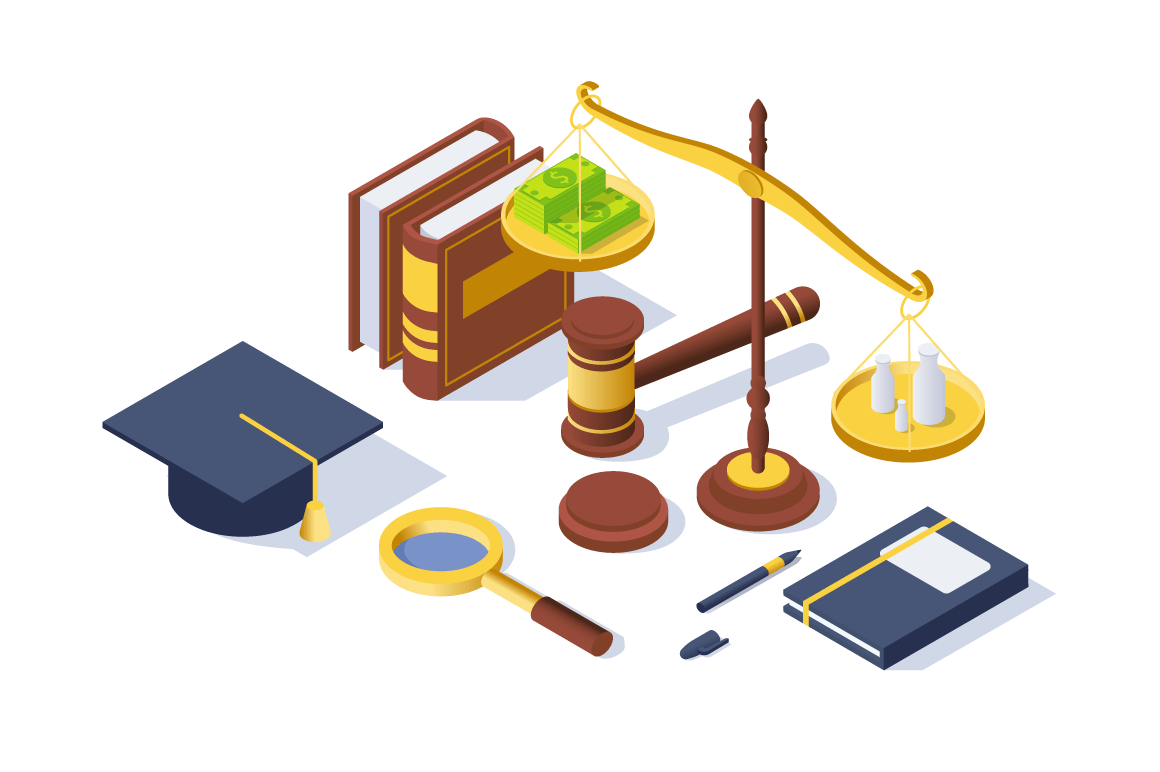 3d isometric justice equipment with hammer, pen, libra balance, book.
