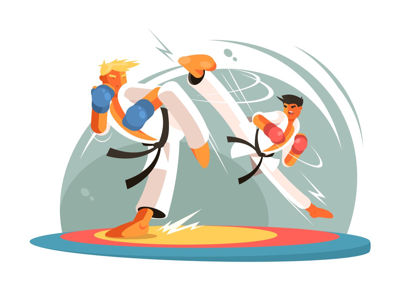 Guys karate sparring for training illustration
