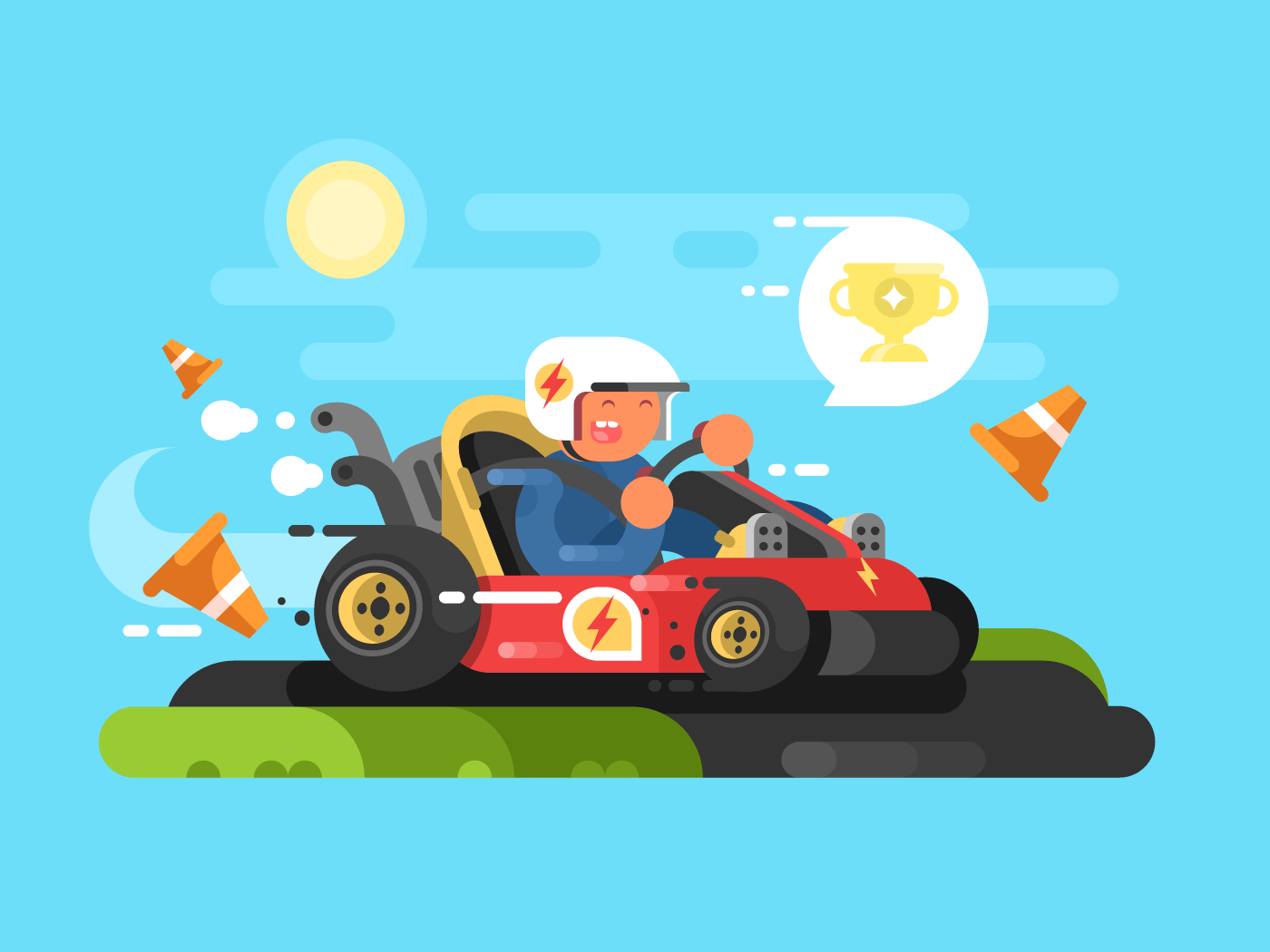 Riding a karting flat vector illustration