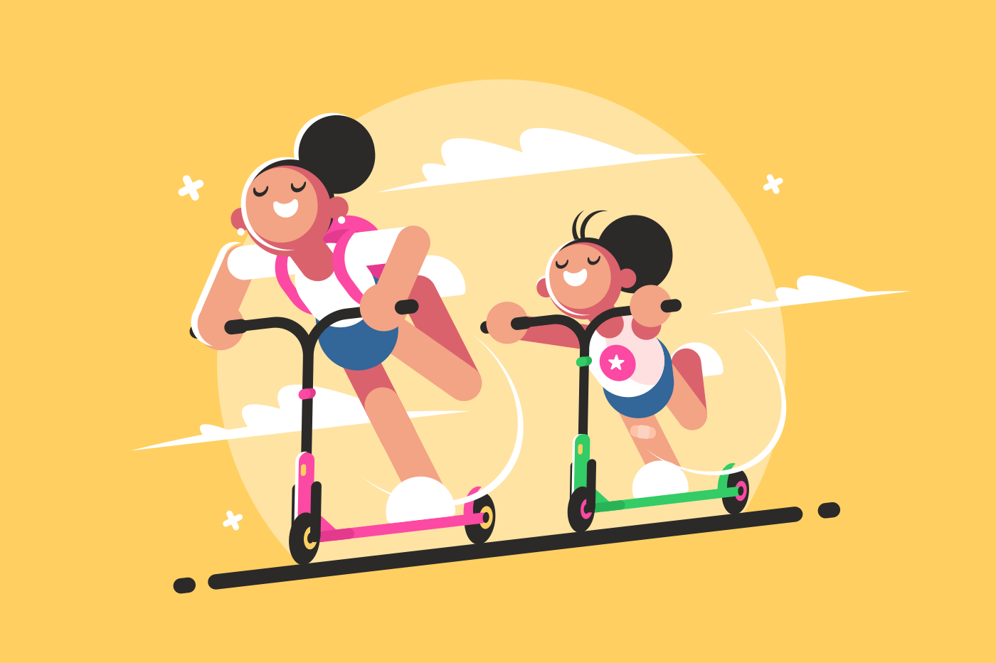 Girls riding kick scooter. Active sport and walk. Vector illustration
